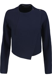 Roland Mouret Lancaster Cropped Wrap Effect Wool Jacket Blue