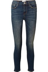 Current Elliott The High Waist Stiletto Cropped Skinny Jeans Dark Denim