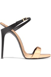 Giuseppe Zanotti Tania Cutout Metallic Leather Mules Gold