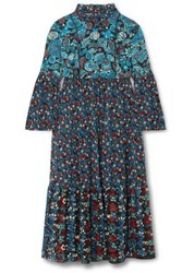 Anna Sui Fruits And Florals Ditsy Daze Printed Silk Chiffon Midi Dress Blue