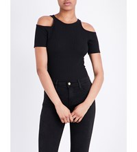 Frame Variegated Cold Shoulder Knitted T Shirt Noir