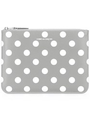 Comme Des Garcons Wallet Polka Dot Zip Wallet Grey