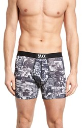 Saxx Vibe Newsprint Boxer Briefs La Confidential