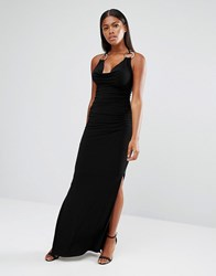 Jessica Wright Slinky Maxi Dress With Ring Detail Black