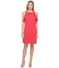 Jessica Simpson Solid Dress With Ruffle Neck Rose Pink