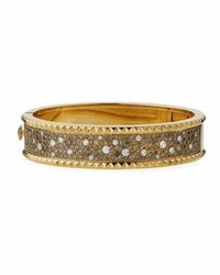 Roberto Coin Rock And Diamond Medium Bangle In 18K Yellow Gold 3.81 Tdcw