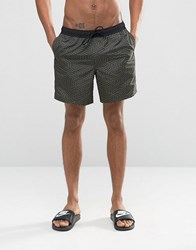 Asos Swim Shorts With Geo Print In Mid Length Green