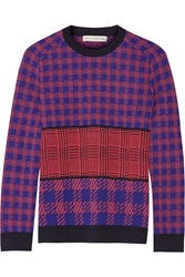 Mary Katrantzou Mackie Embroidered Houndstooth Intarsia Wool Sweater