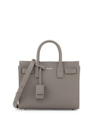 Sac De Jour Pebbled Leather Nano Crossbody Bag Gray Women's Saint Laurent