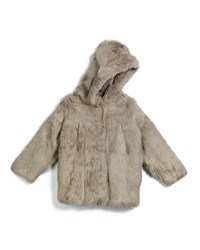 Adrienne Landau Hooded Rabbit Fur Coat Light Gray