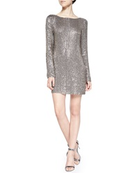 Haute Hippie Long Sleeve Short Dress With Crystals