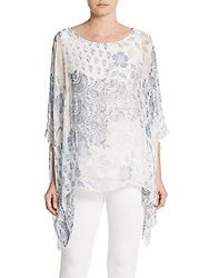 Saks Fifth Avenue Printed Woven Tunic Top Blue