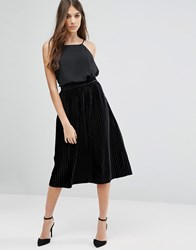 Vila Midi Pleated Velvet Skirt Black