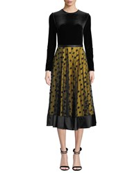 Catherine Deane Louisa Midi Dress W Velvet And Tulle Black Yellow