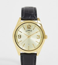 Limit Faux Leather Watch In Black With Gold Dial