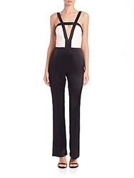Abs By Allen Schwartz Strappy Stretch Satin Colorblock Jumpsuit Black White