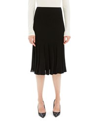 Theory Pleated Viscose Knee Length Skirt Black