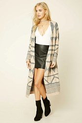 Forever 21 Tribal Pattern Cardigan Heather Grey Taupe
