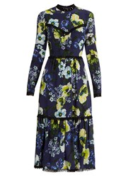 Erdem Georgie Hasu Night Print Silk Crepe Dress Navy Multi