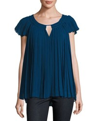 Max Studio Pleated Cap Sleeve Georgette Blouse Blue