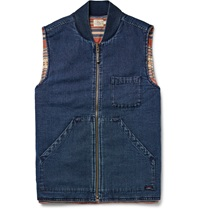 Faherty Sunset Arrow Reversible Cotton Canvas Gilet Blue