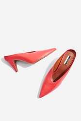 Topshop Juicy V Cut Mules Red
