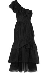 Ulla Johnson Clemente One Shoulder Ruffled Cotton And Silk Blend Organza Midi Dress Black Gbp