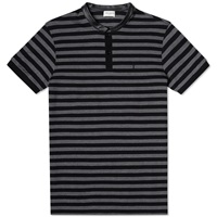 Saint Laurent Leather Collar Striped Polo Shirt Black