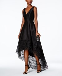 Betsy And Adam Lace Trim High Low Gown Black Black