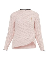 Ted Baker Charo Asymmetric Cable Knit Jumper Pink