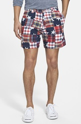 Vintage 1946 'Snappers' Patchwork Madras Cotton Shorts Navy