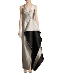 Halston Colorblock Ruffle Gown Champagne