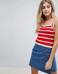 Honey Punch Cami Top In Stripe Knit Red