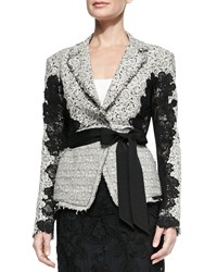 Donna Karan Grosgrain Belted Lace Jacket Ivory Black