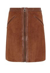 Hallhuber Suede Skirt With Smooth Leather Patches Beige