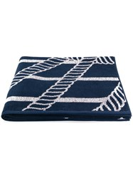 Emporio Armani Ea7 Striped Logo Towel Blue
