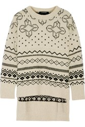 Thakoon Fair Isle Oversized Merino Wool Blend Sweater Cream