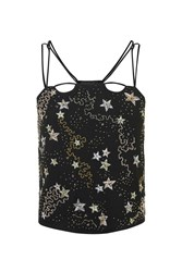Topshop Star Embroidered Crop Camisole Top Black