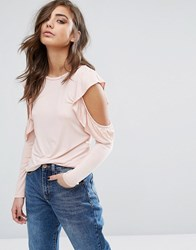 Miss Selfridge Cold Shoulder Ruffle Long Sleeve Top Pink