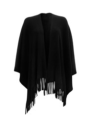 Wallis Black Ribbed Fringed Wrap