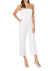 Laundry By Shelli Segal Strapless Eyelet Cutout Jumpsuit Optic White