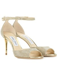 Jimmy Choo Annie 85 Glitter Sandals Gold