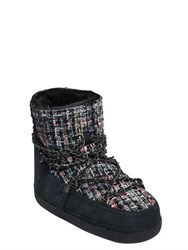 Inuikii 20Mm Boucle And Nubuck Leather Boots