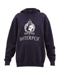 Vetements Interpol Print Cotton Hooded Sweatshirt Navy
