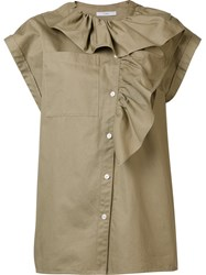 Tome Asymmetrical Ruffle Blouse Nude And Neutrals