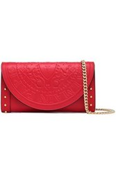 Balmain Studded Embossed Leather Wallet Claret