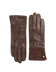 Michael Kors Basketweaved Leather Gloves Mahogany