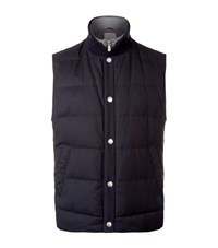 Brunello Cucinelli Quilted Wool And Silk Gilet Male Navy