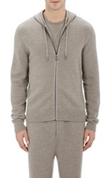 Ralph Lauren Purple Label Waffle Knit Zip Front Hoodie Grey