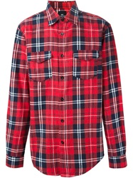 Les Artists Les Art Ists Tartan 'Kanye 77' Print Shirt Red